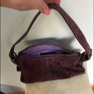 Coach purple suede adjustable strap purse